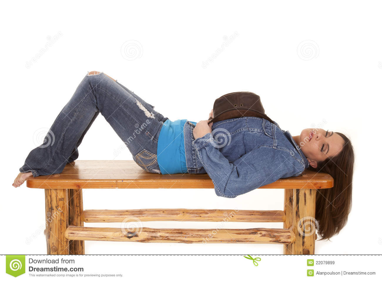 Woman Lay On Bench Hat Sleep Royalty Free Stock Images - Image ...