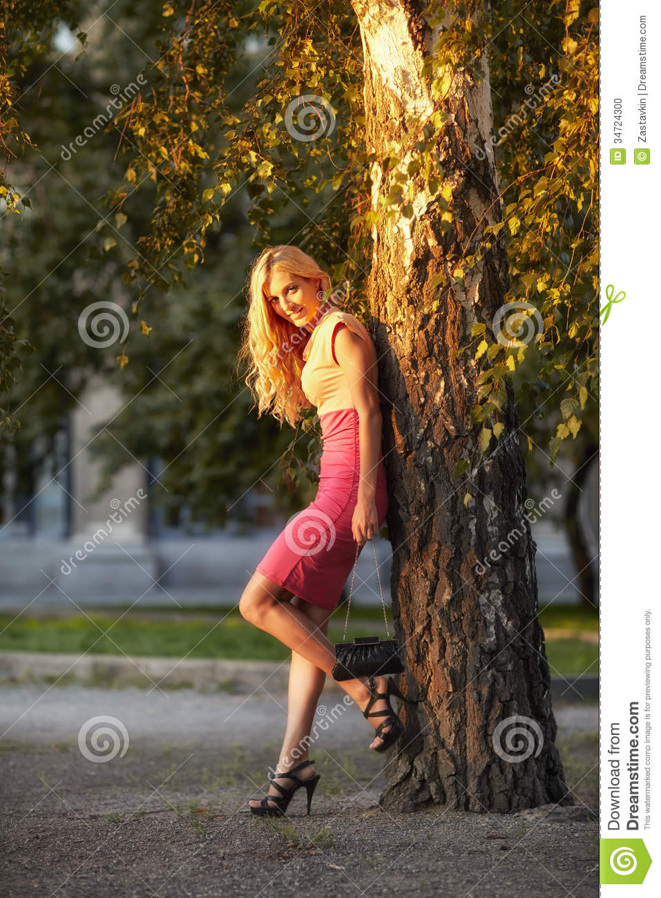 Woman Leaned Against A Birch Tree Stock Photo Image