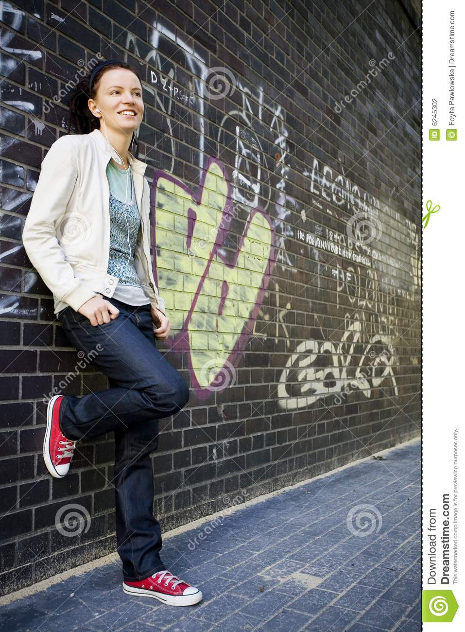 Woman Leaning Against A Wall Stock Photo Image Of City