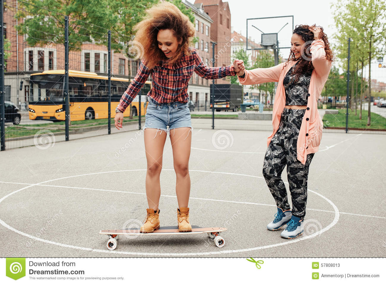 Woman Learning To Ride Skateboard Stock Image - Image of ...