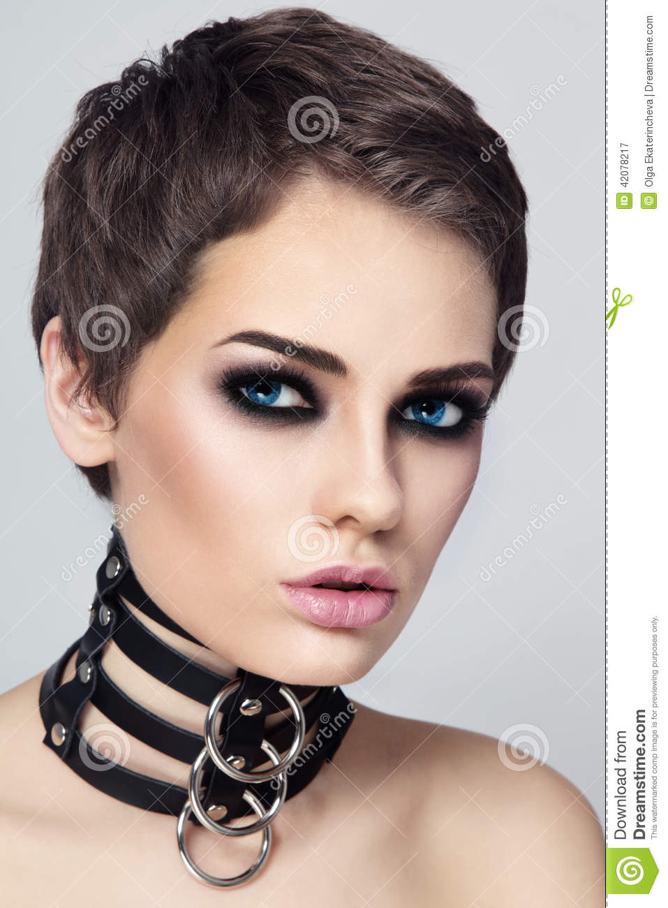 Woman In Leather Collar Stock Image Image Of Hairstyle