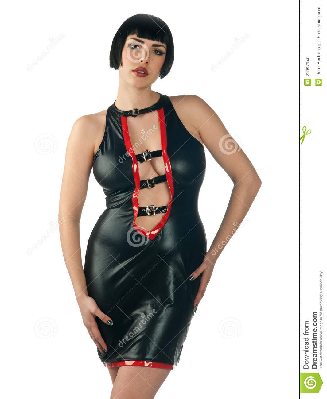 Woman in leather dress stock photo image 23097940