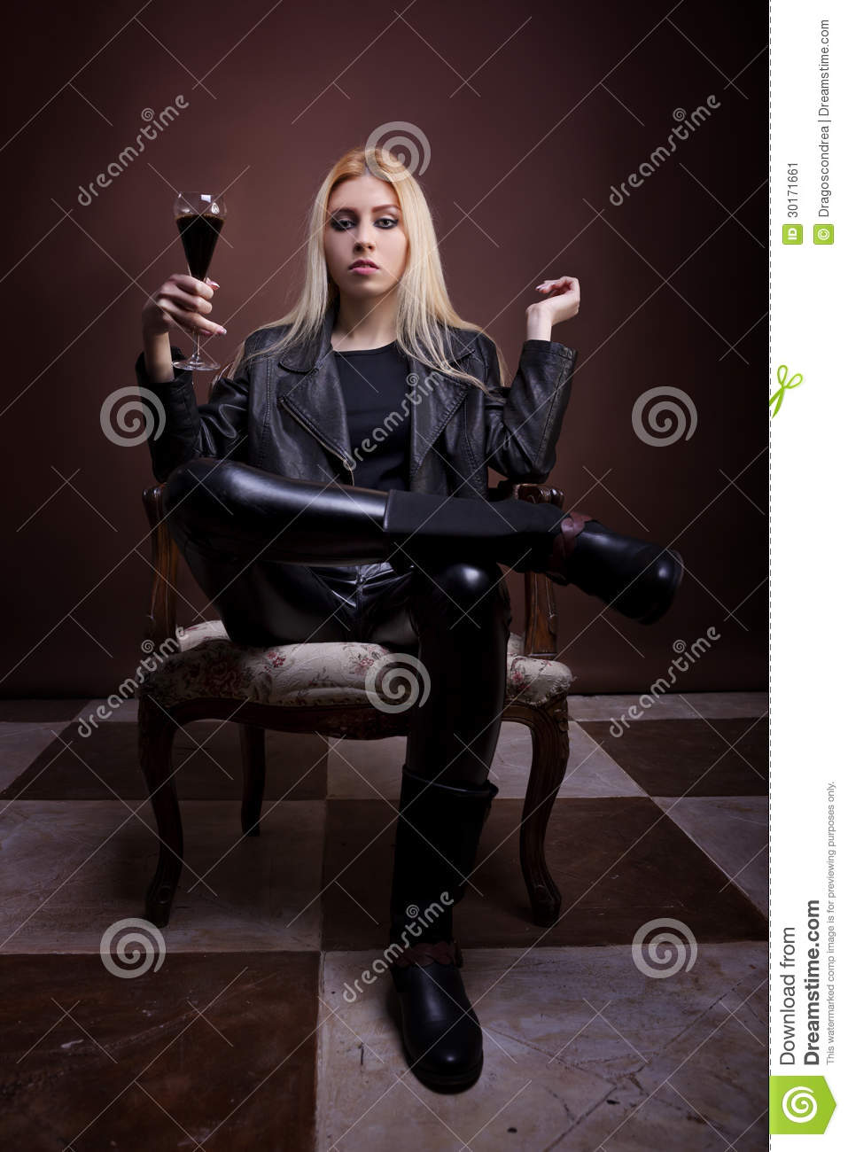Woman in leather jaket