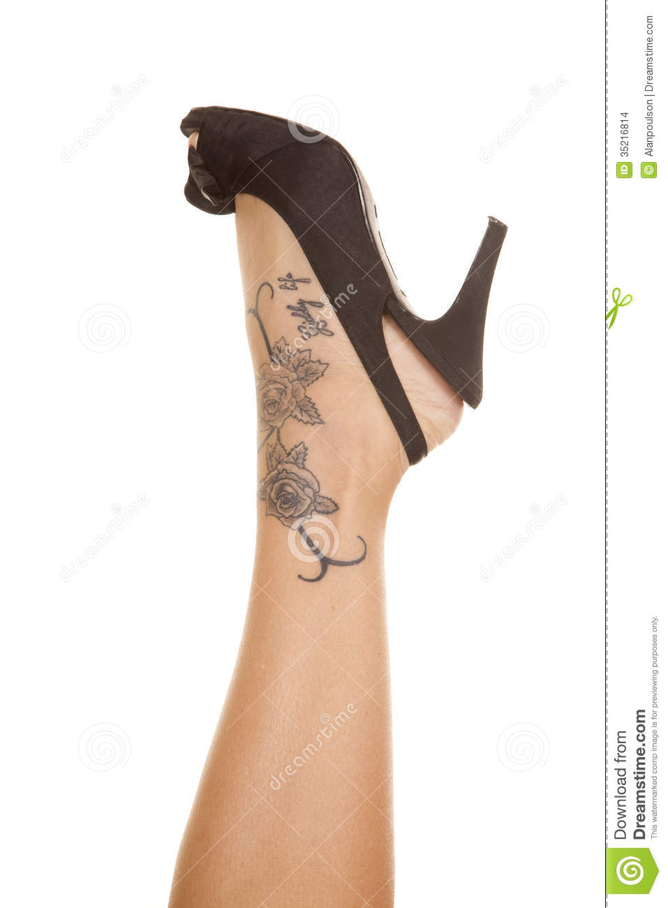 Woman leg tattoo on foot stock photo. Image of flower