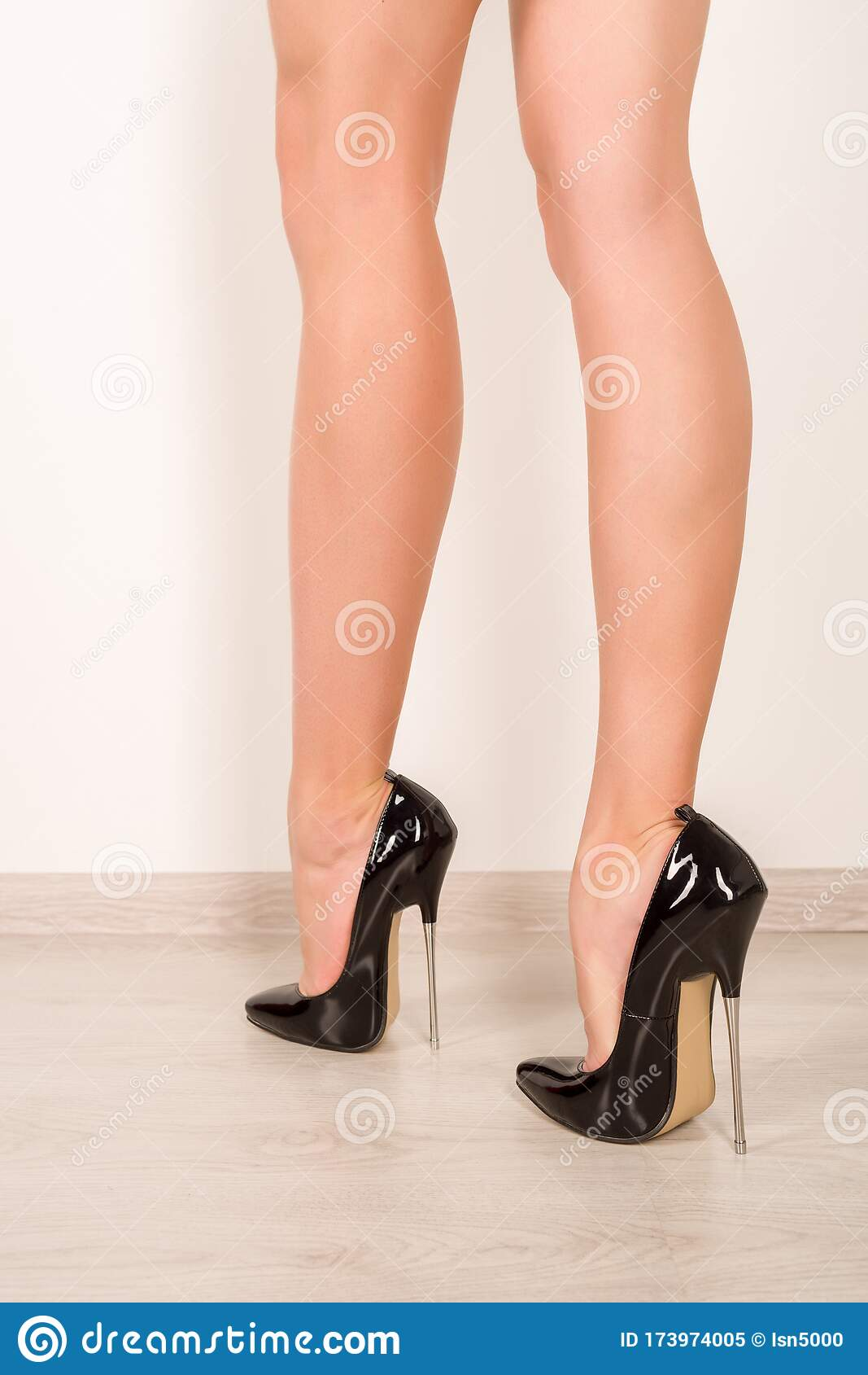 Woman Legs In Black Fetish Shiny Patent Leather Stiletto High
