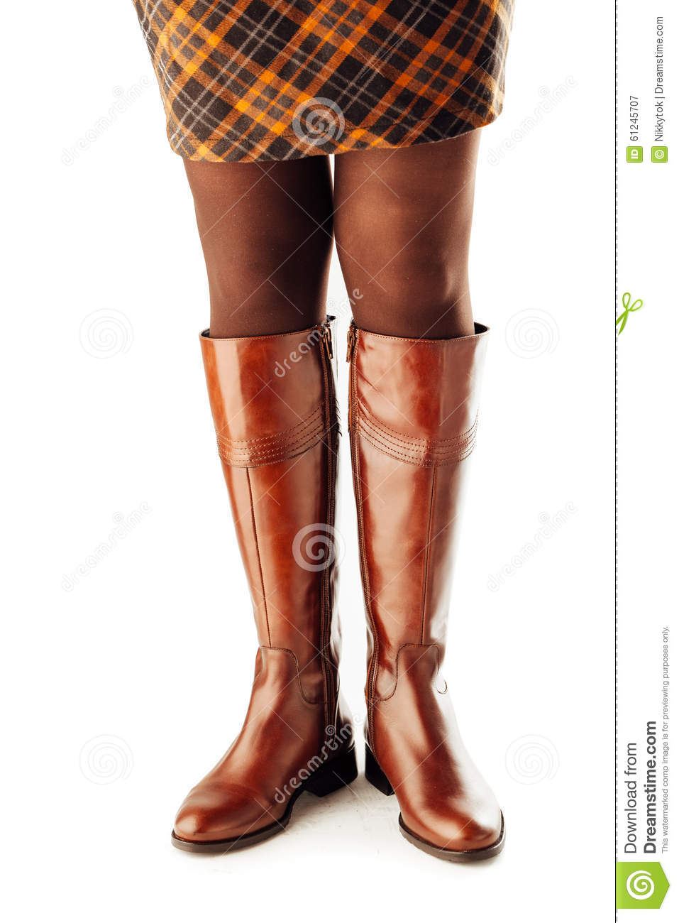 Woman Legs Wearing Brown Leather High Boots Stock Image Image Of