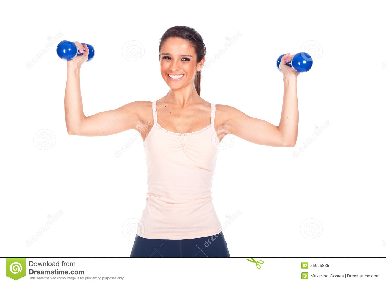 Woman Lifting Some Weights And Working Out Royalty Free ...