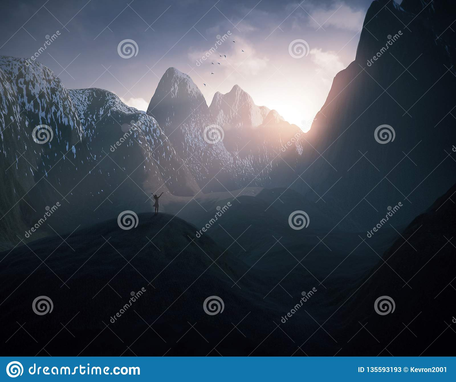 Woman praising in the mountains