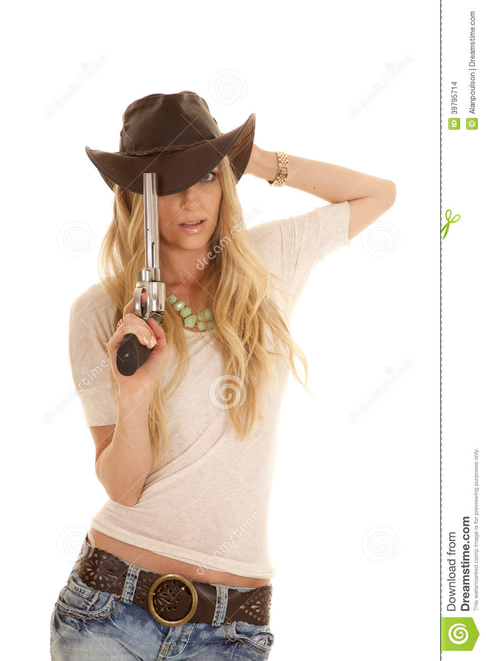 woman light shirt hat gun hold by head stock photo image cowgirl hat and boots clipart western hat clipart