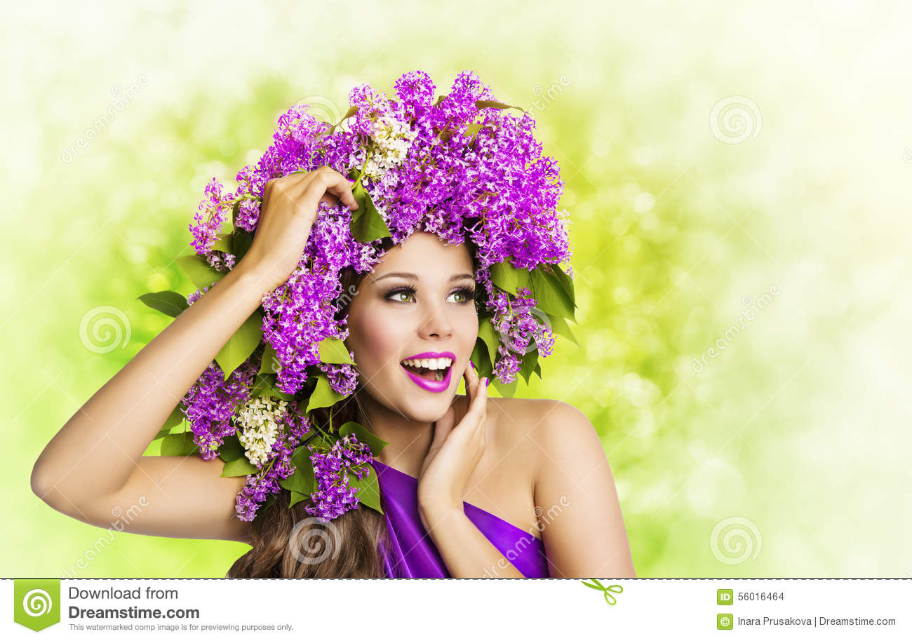 Woman Lilac Flower, Fashion Girl Beauty Face Makeup
