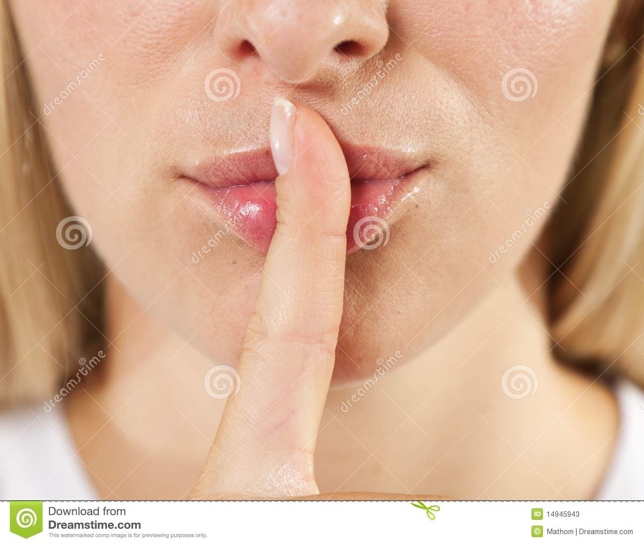Woman Lips With Finger Shh Stock Photos - Image: 14945943