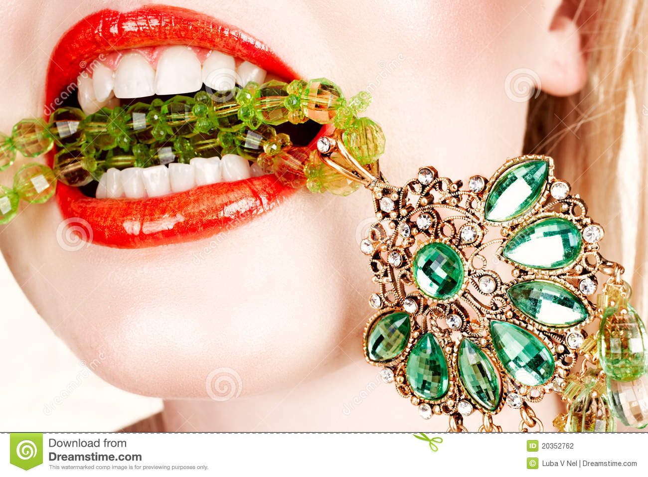 Woman lips with necklace