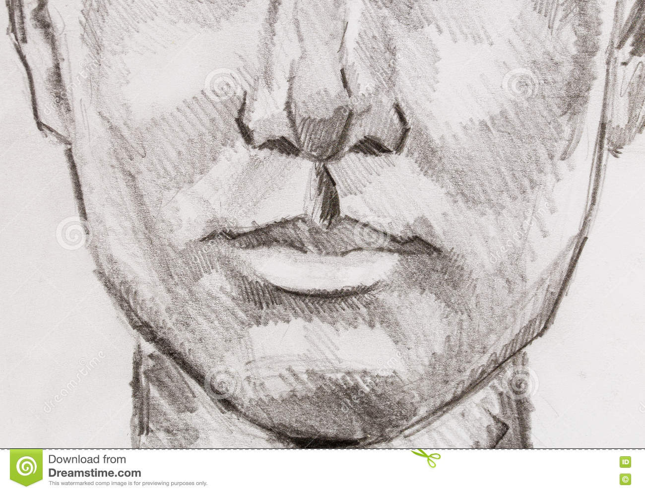 Woman lips pencil drawing on paper eye contact stock illustration