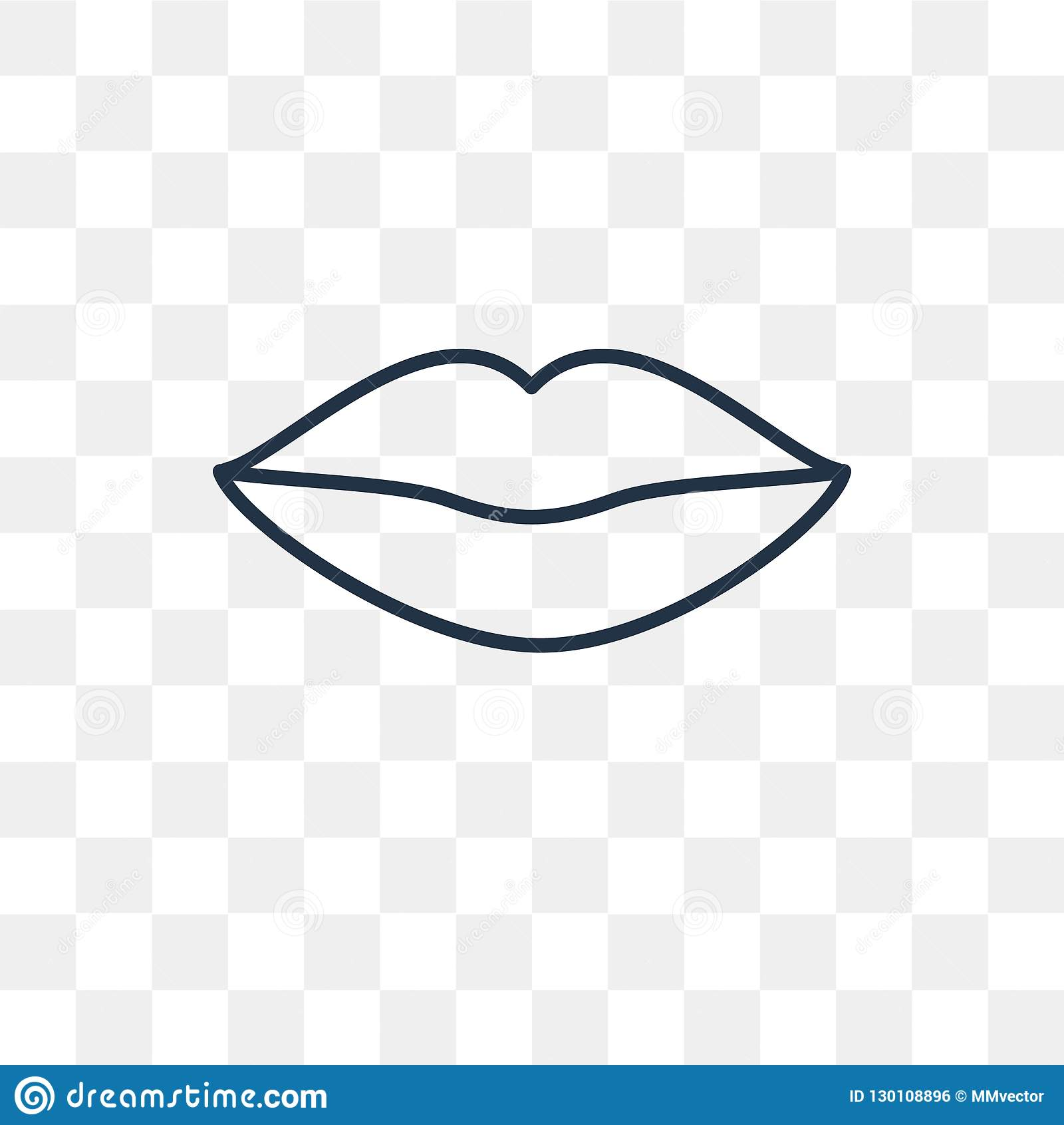 Woman Lips Vector Icon Isolated On Transparent Background, Linea