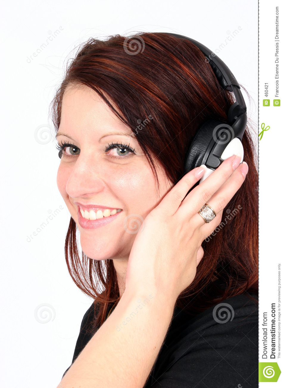 Download Woman listening to music stock image. Image of office, entertainment - 460421