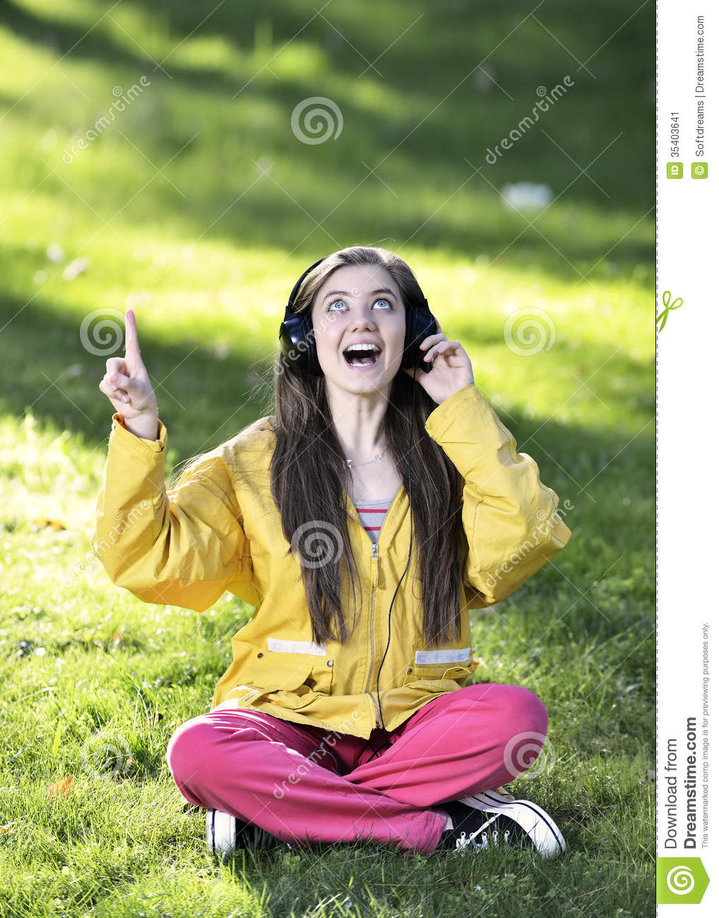 Listening to music while studying woman listening to music