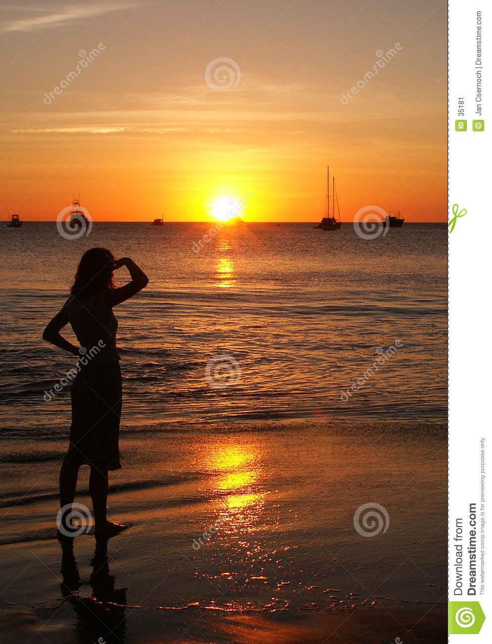 Woman lit by the setting sun