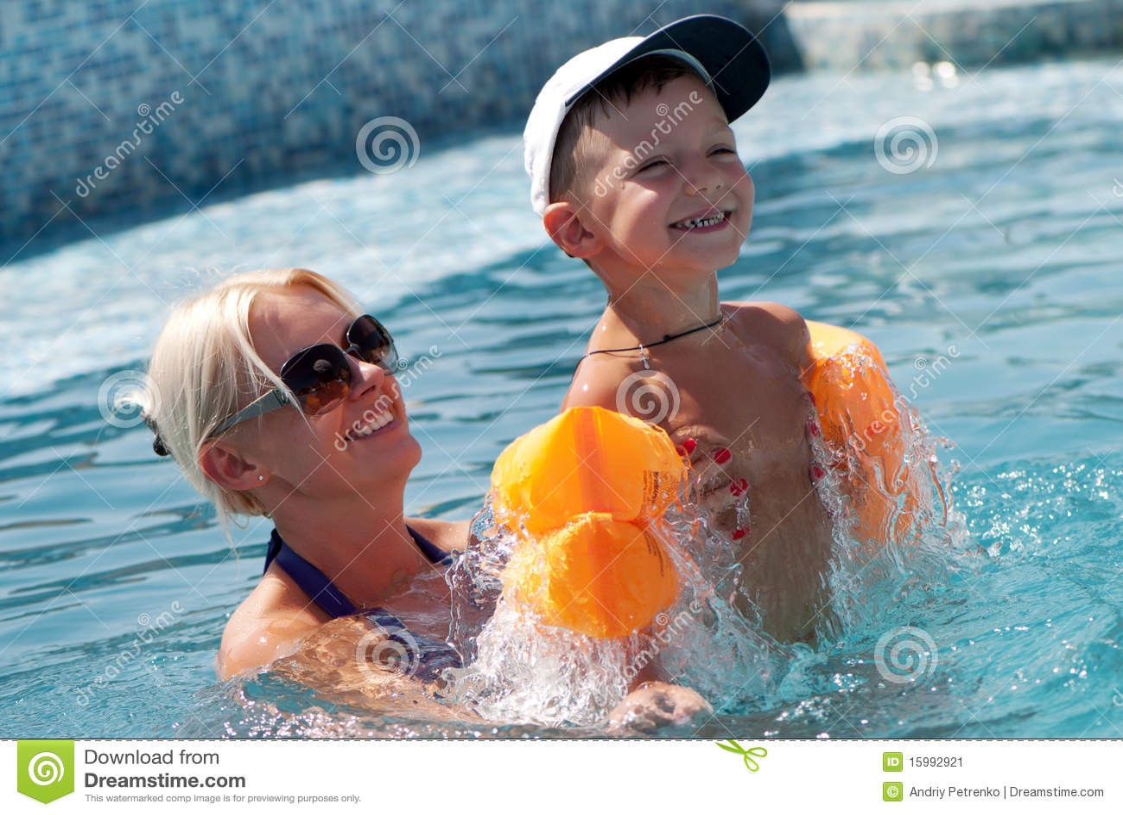 boy bathes with woman