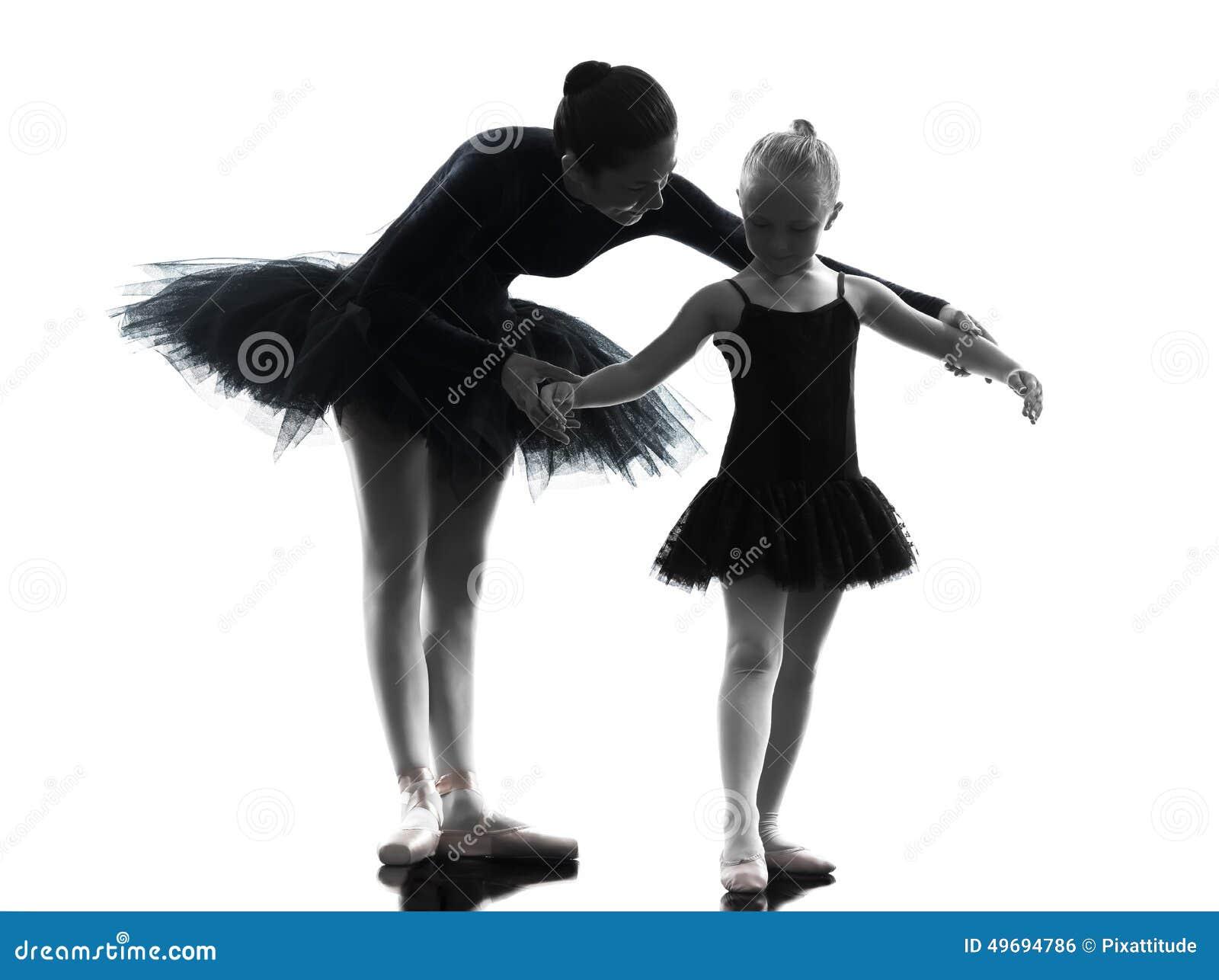 Woman And Little Girl Ballerina Ballet Dancer Dancing ...