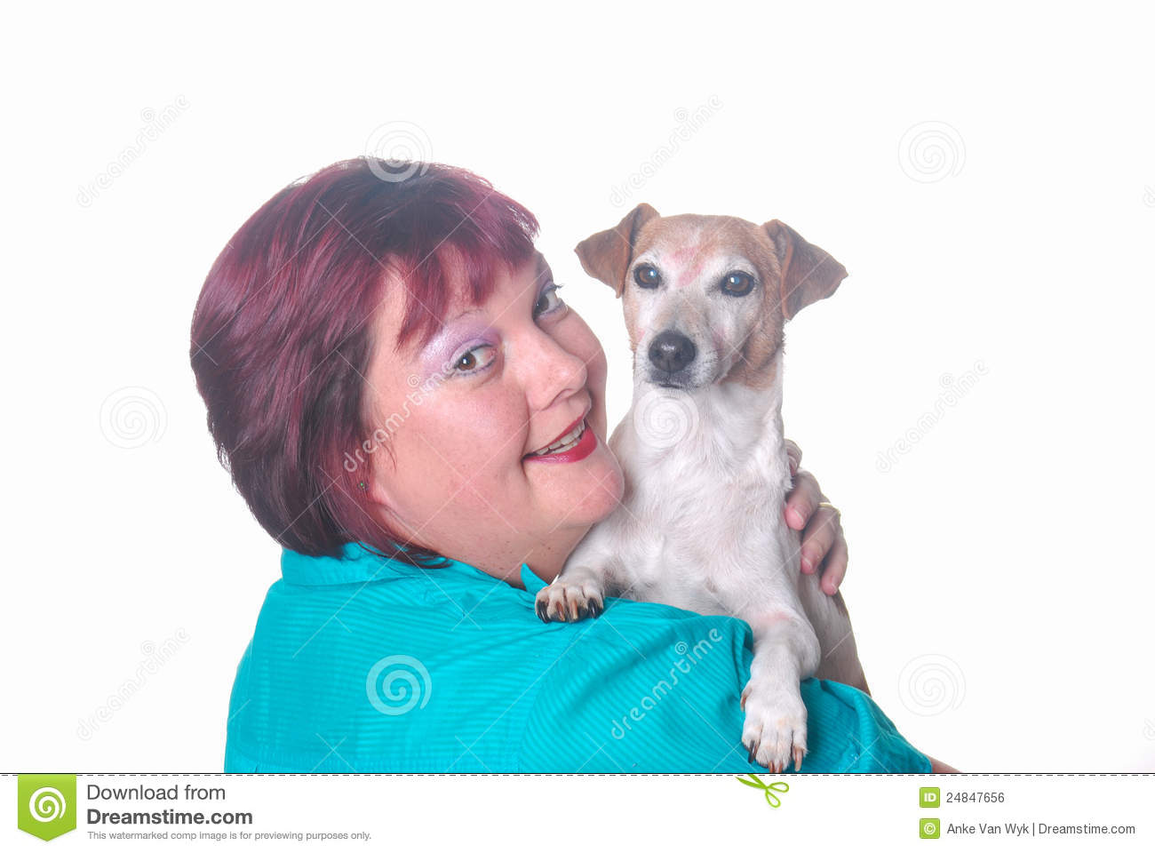 Woman with little Jack Russell dog