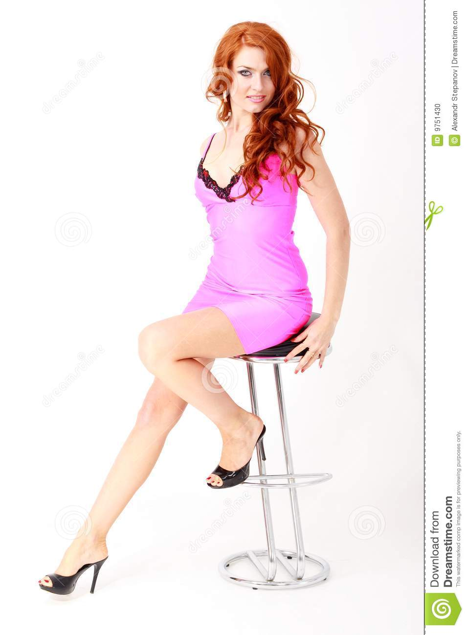 Woman In Little Pink Dress Sitting On Chair Stock Photo - Image ...
