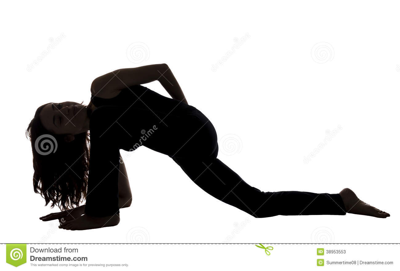 Woman In A Lizard Pose Variation, Yoga, Silhouette Stock ...