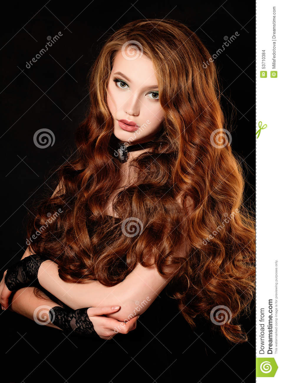 Woman With Long Curly Red Hair Stock Photo Image Of Brown Color