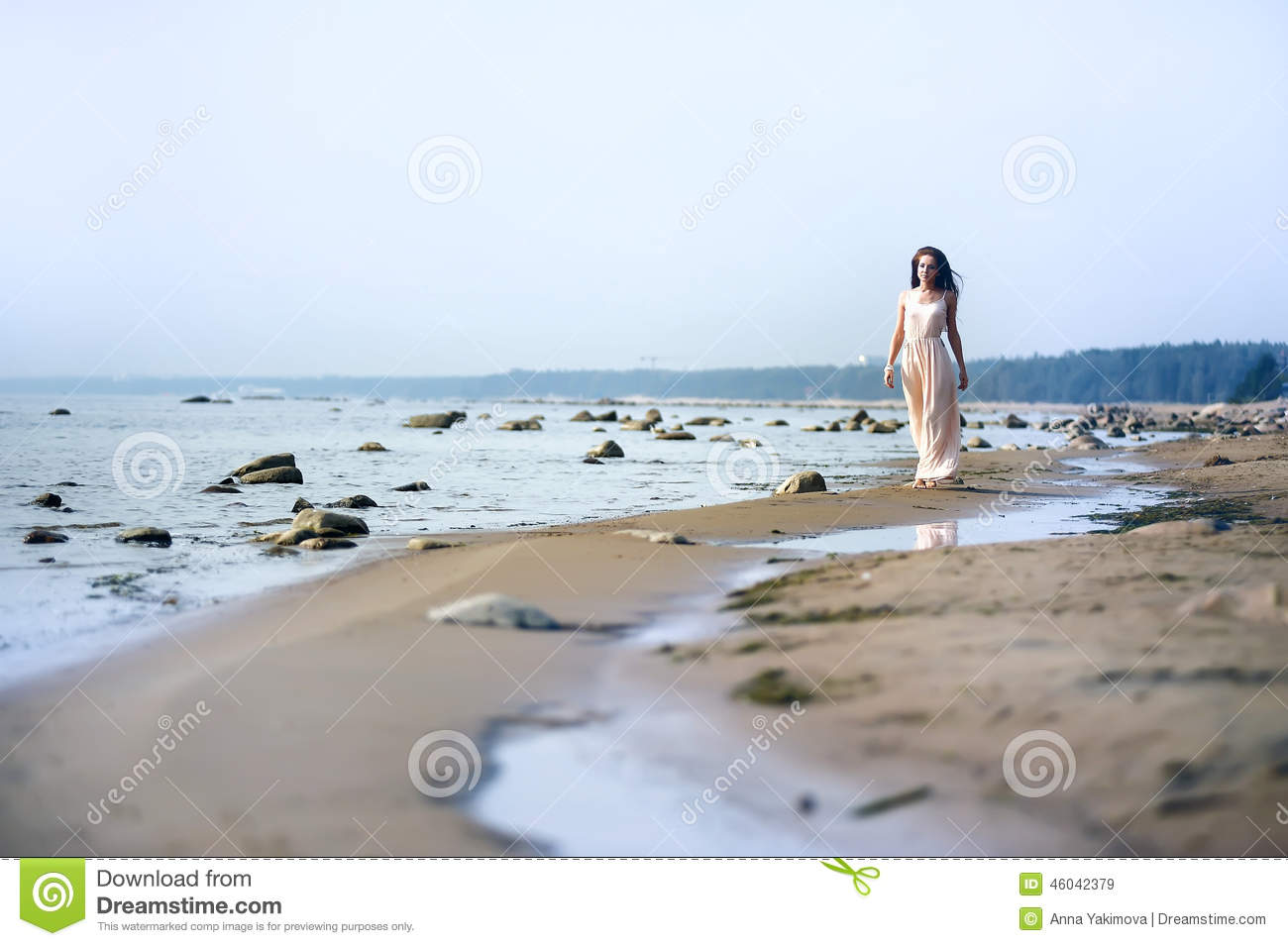 White dress by the shore - Woman In A Long Dress On The Shore