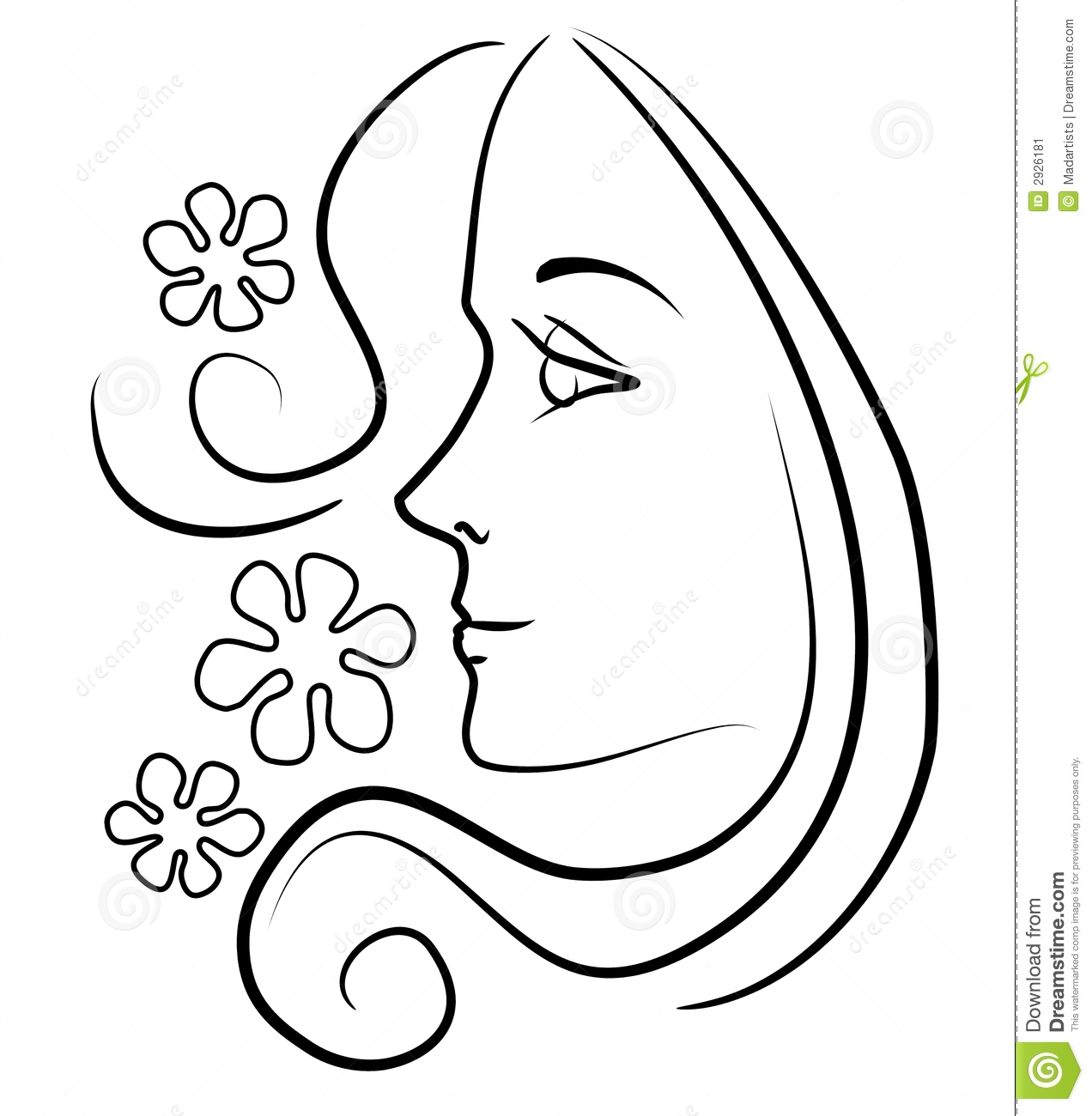 Woman S Face Line Drawing : Woman with long hair flowers stock illustration