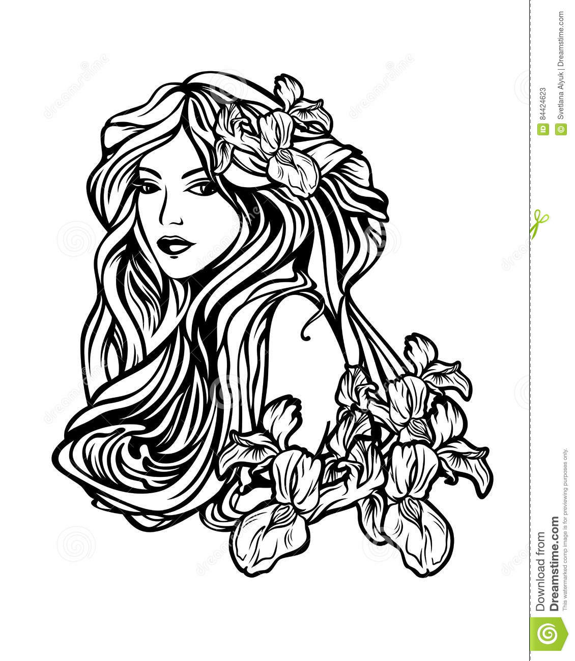 woman with long hair among flowers art nouveau style
