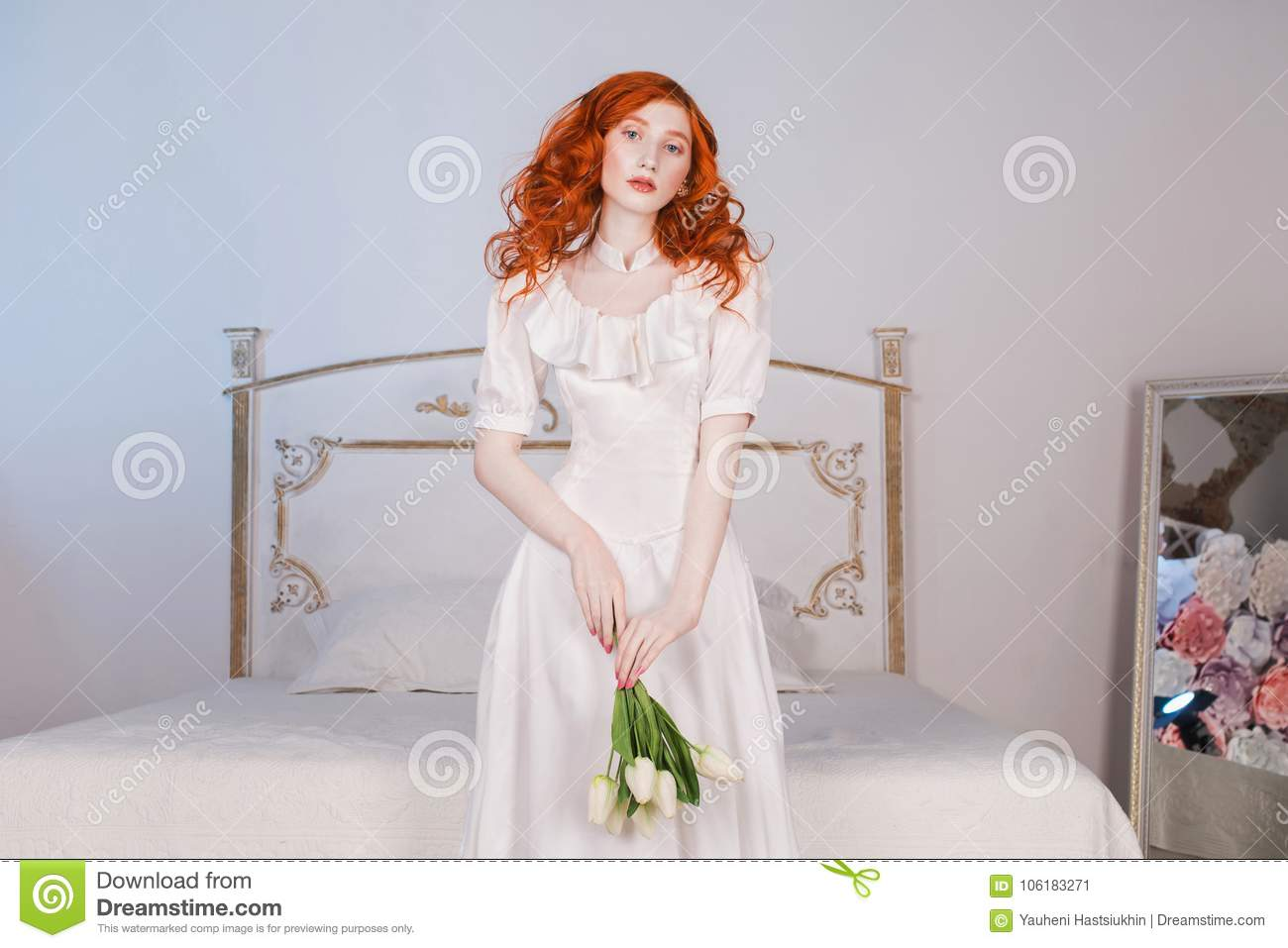 Beautiful Girl With Red Hair And Natural Make Up Stock Image