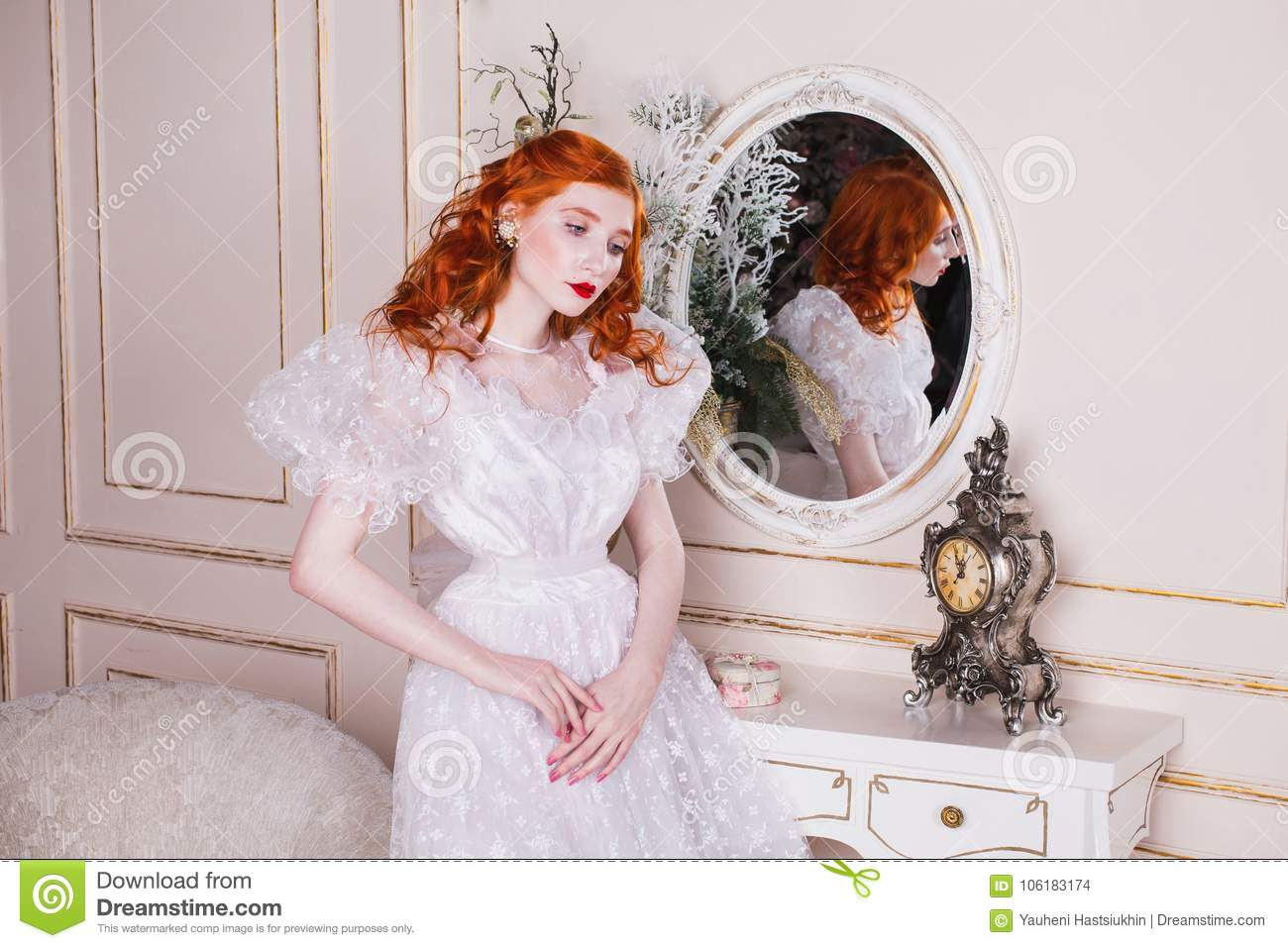 Beautiful Girl With Red Hair And Natural Make Up Stock Photo