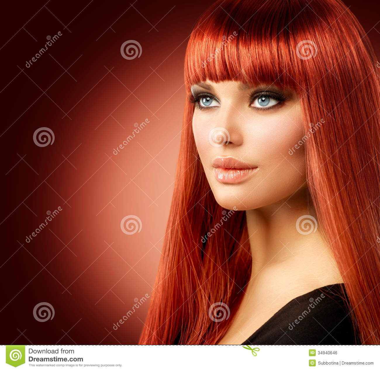 Woman With Long Red Hair Royalty Free Stock Image - Image: 34940646