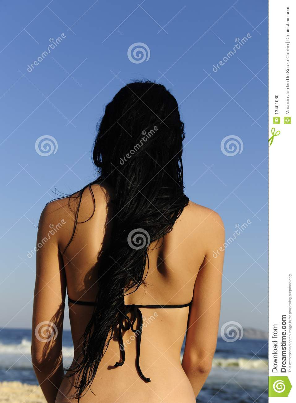 Woman With Long Wet Black Hair Stock Photo Image 13401080