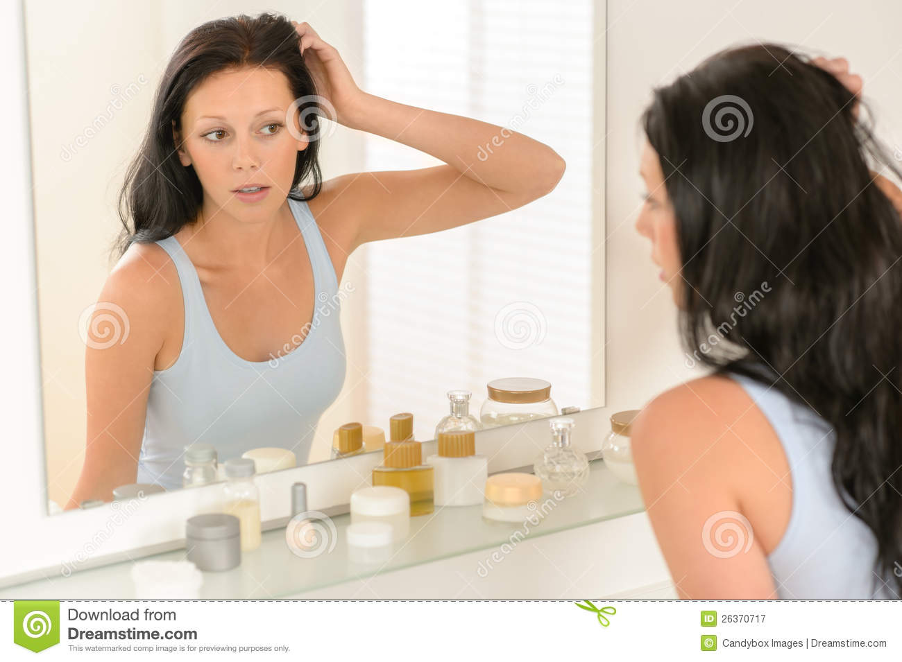 bathroom brunette looking mirror reflection woman. Woman Look At Herself Bathroom Mirror Reflection Royalty Free