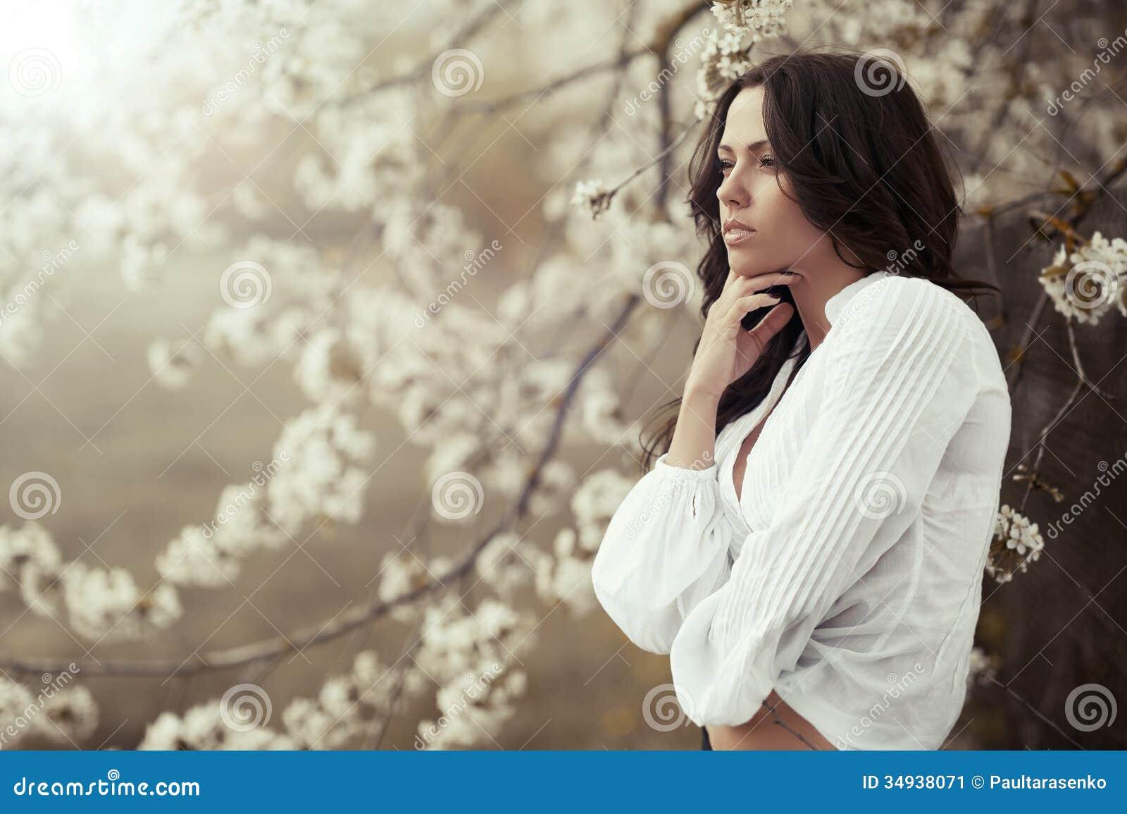 Woman looking away. Beautiful girl profile