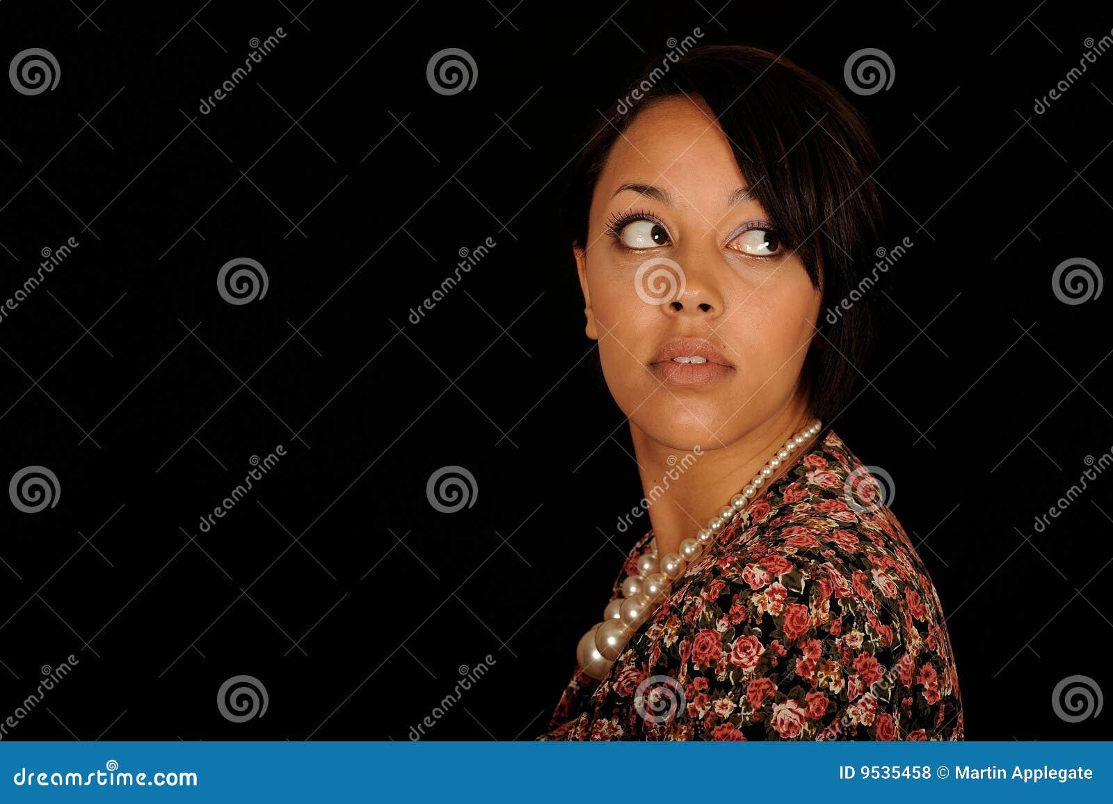 Woman looking backwards