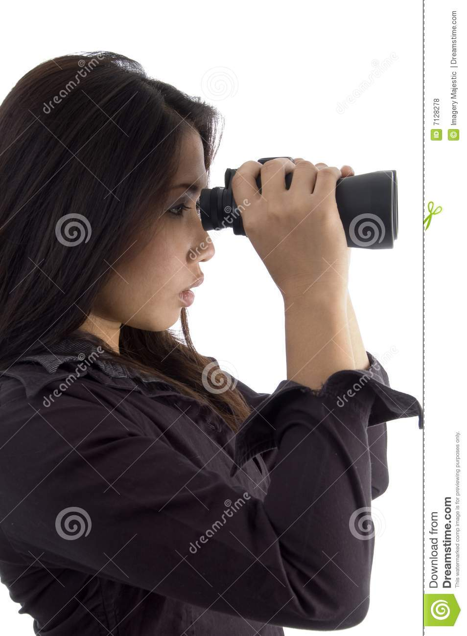 Woman Looking Through Binocular Royalty Free Stock Photos ...