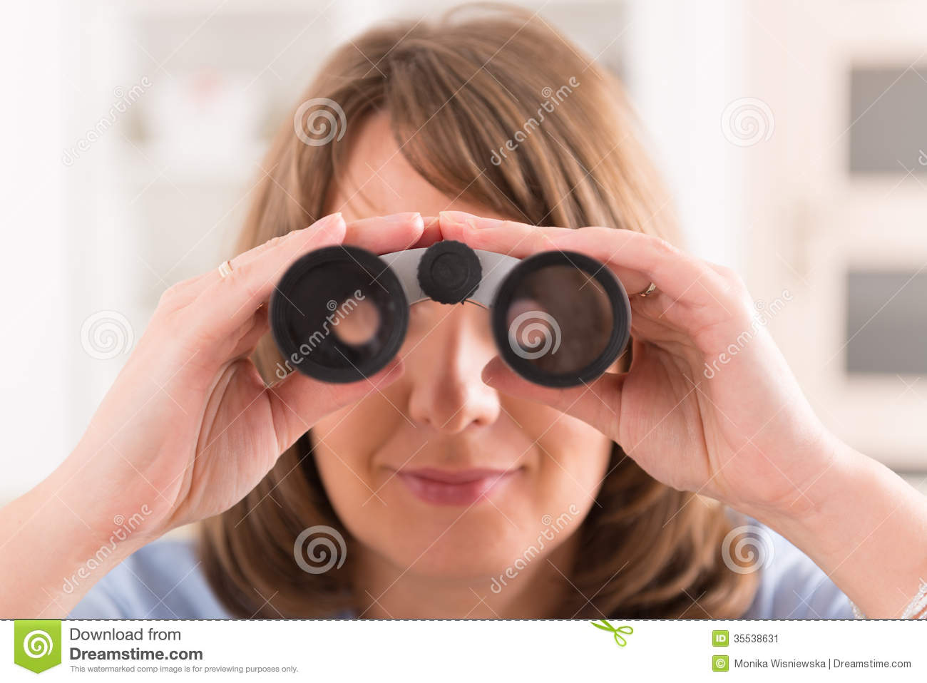 Woman Looking Through Binocular Stock Image - Image: 35538631