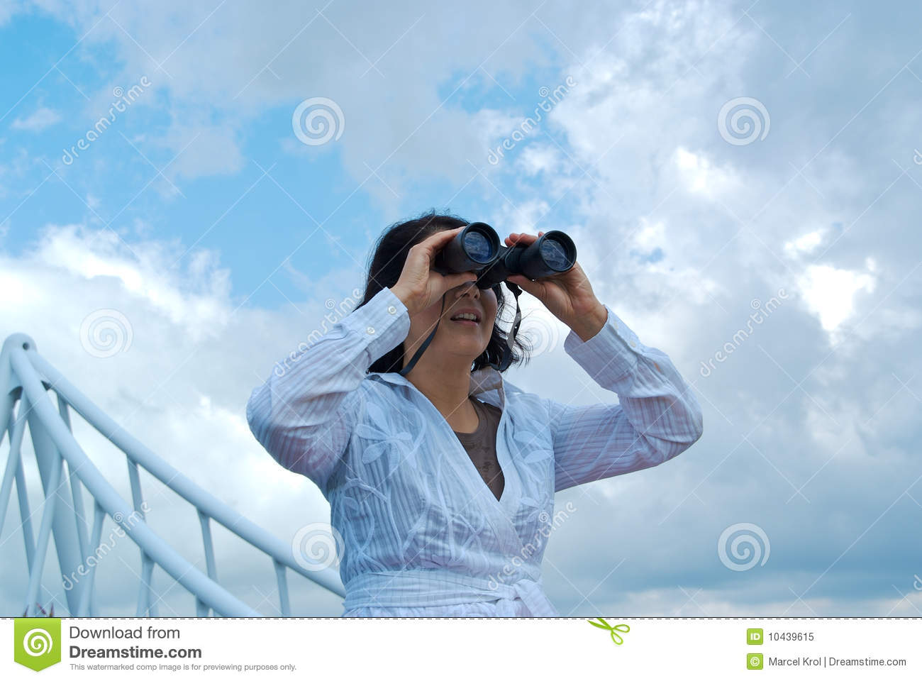 Woman Looking Through Binoculars Royalty Free Stock Photo ...