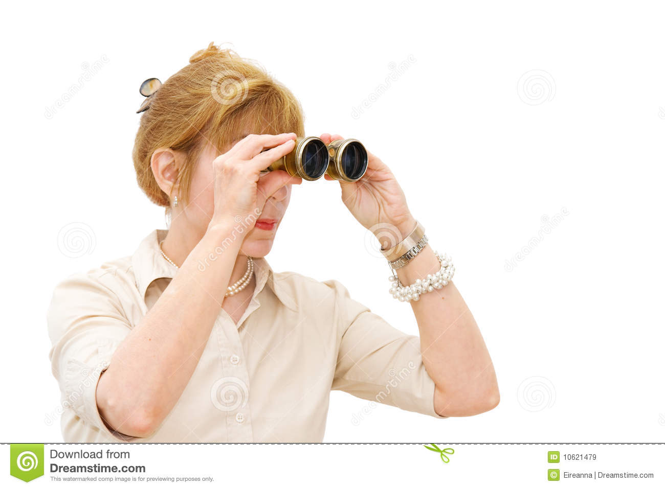 Woman Looking Through Binoculars Royalty Free Stock Images ...