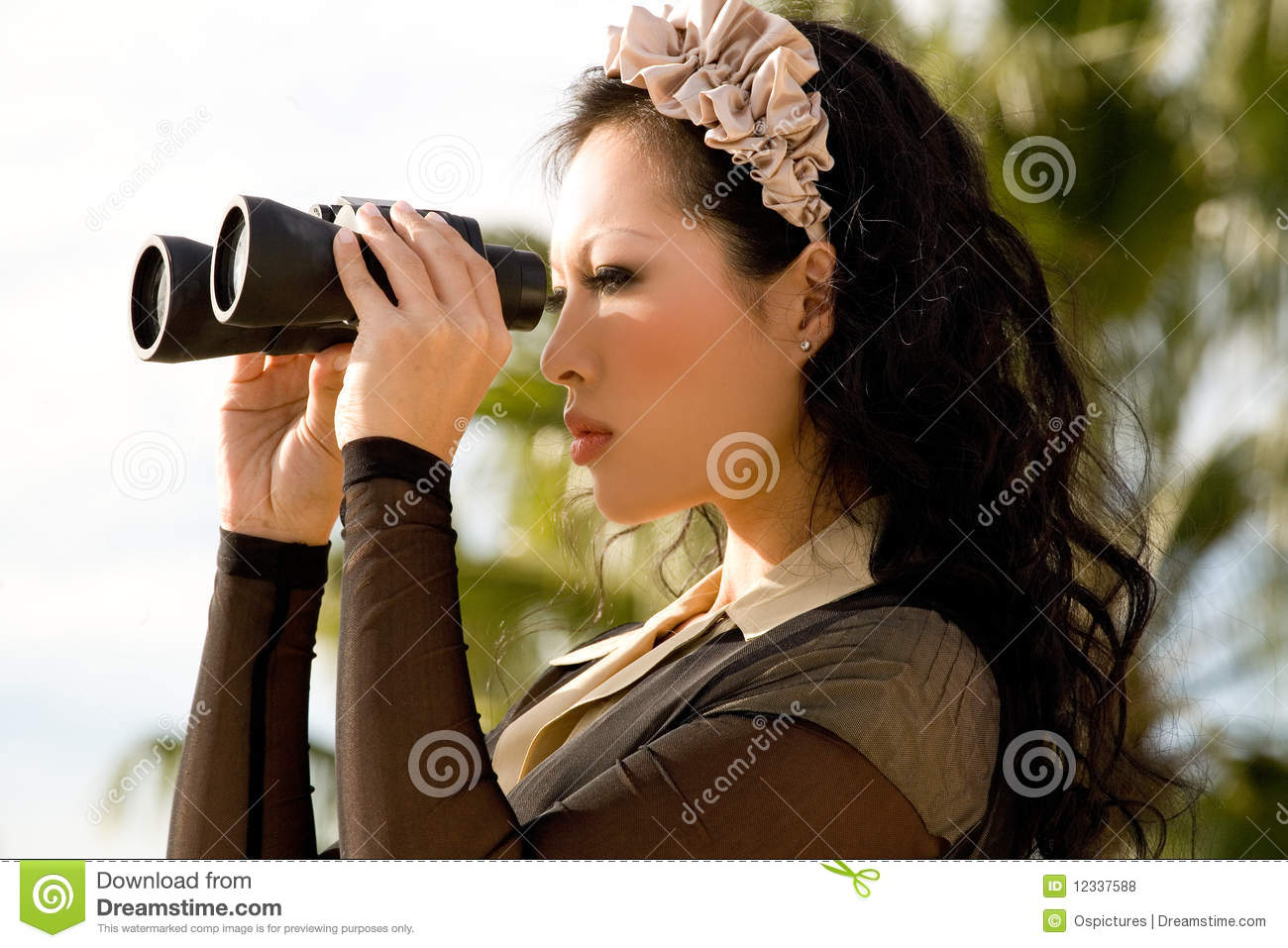 Woman Looking Through Binoculars Royalty Free Stock Photos ...