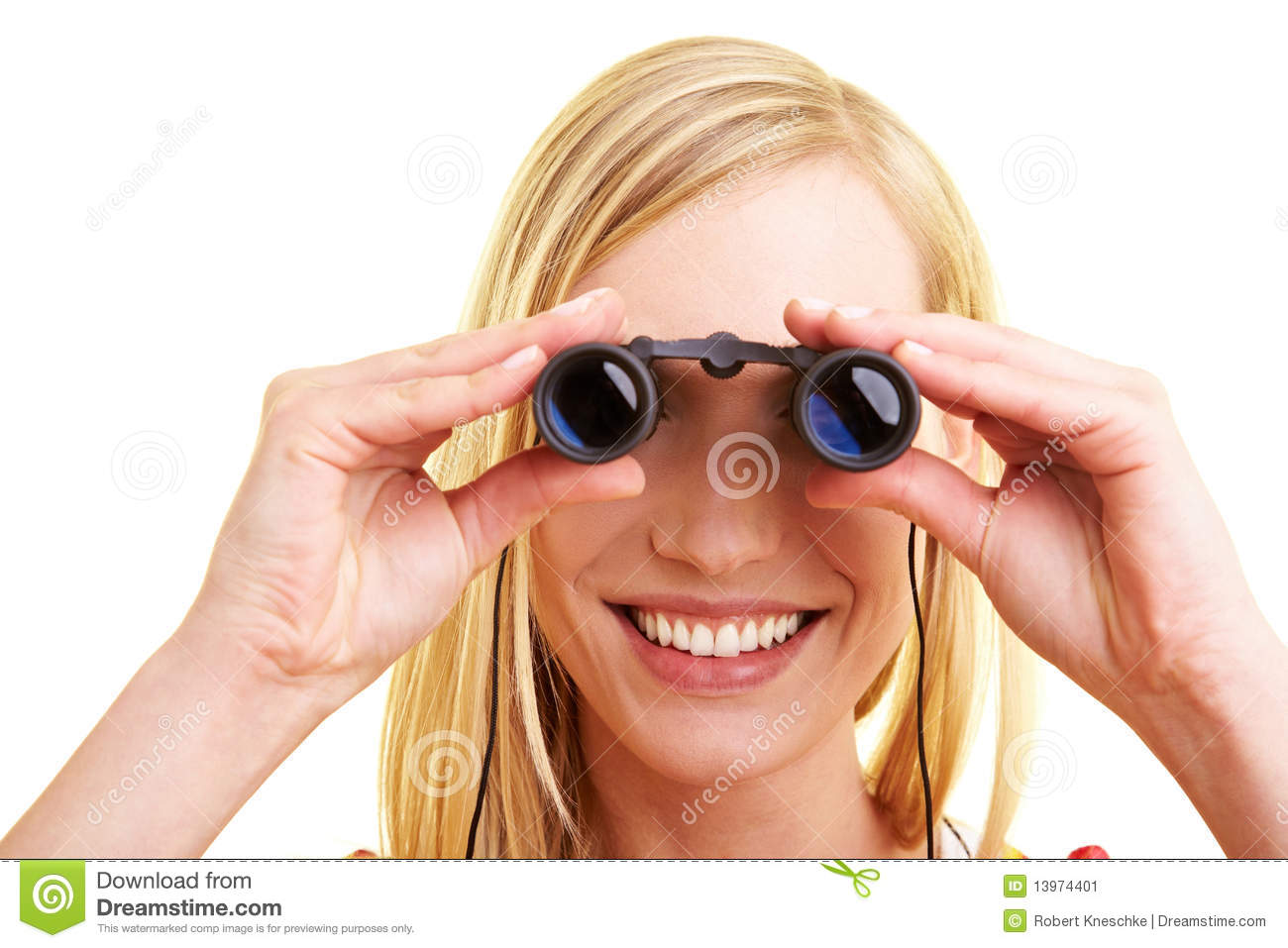 Woman Looking Through Binoculars Stock Image - Image: 13974401