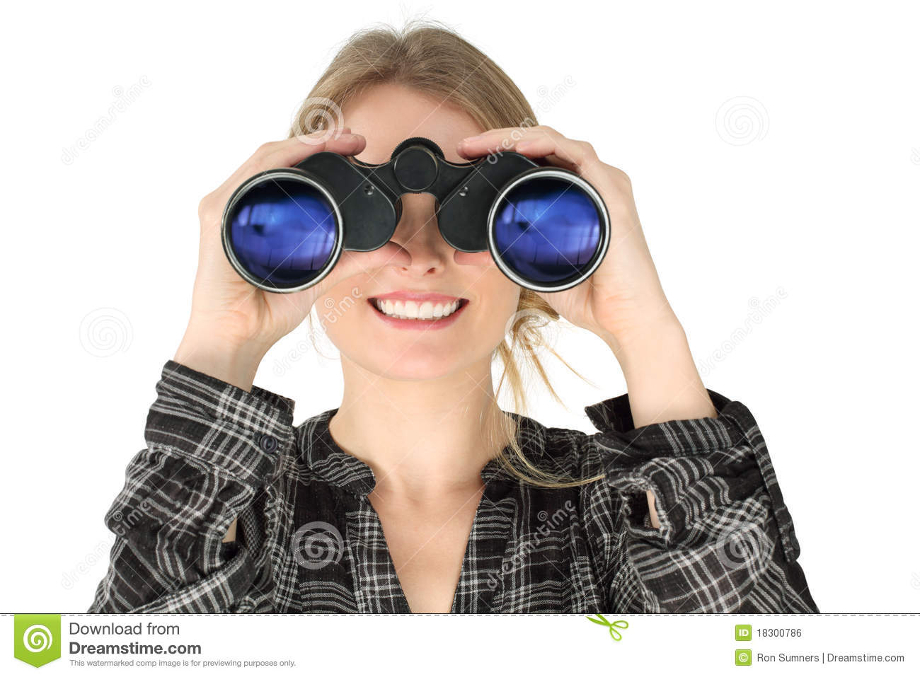 Woman Looking With Binoculars Royalty Free Stock Image ...