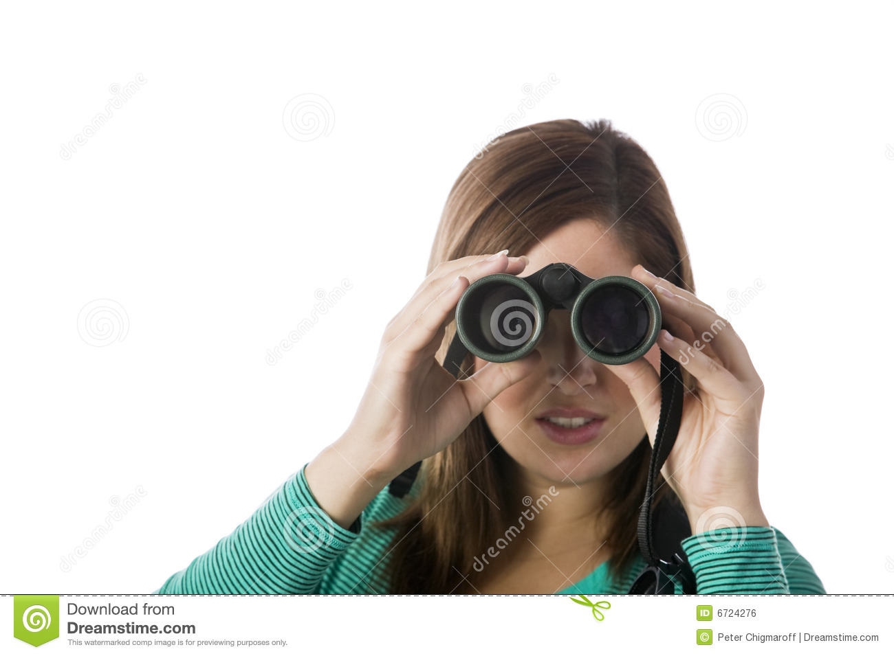 Woman Looking Through Binoculars Royalty Free Stock Image ...