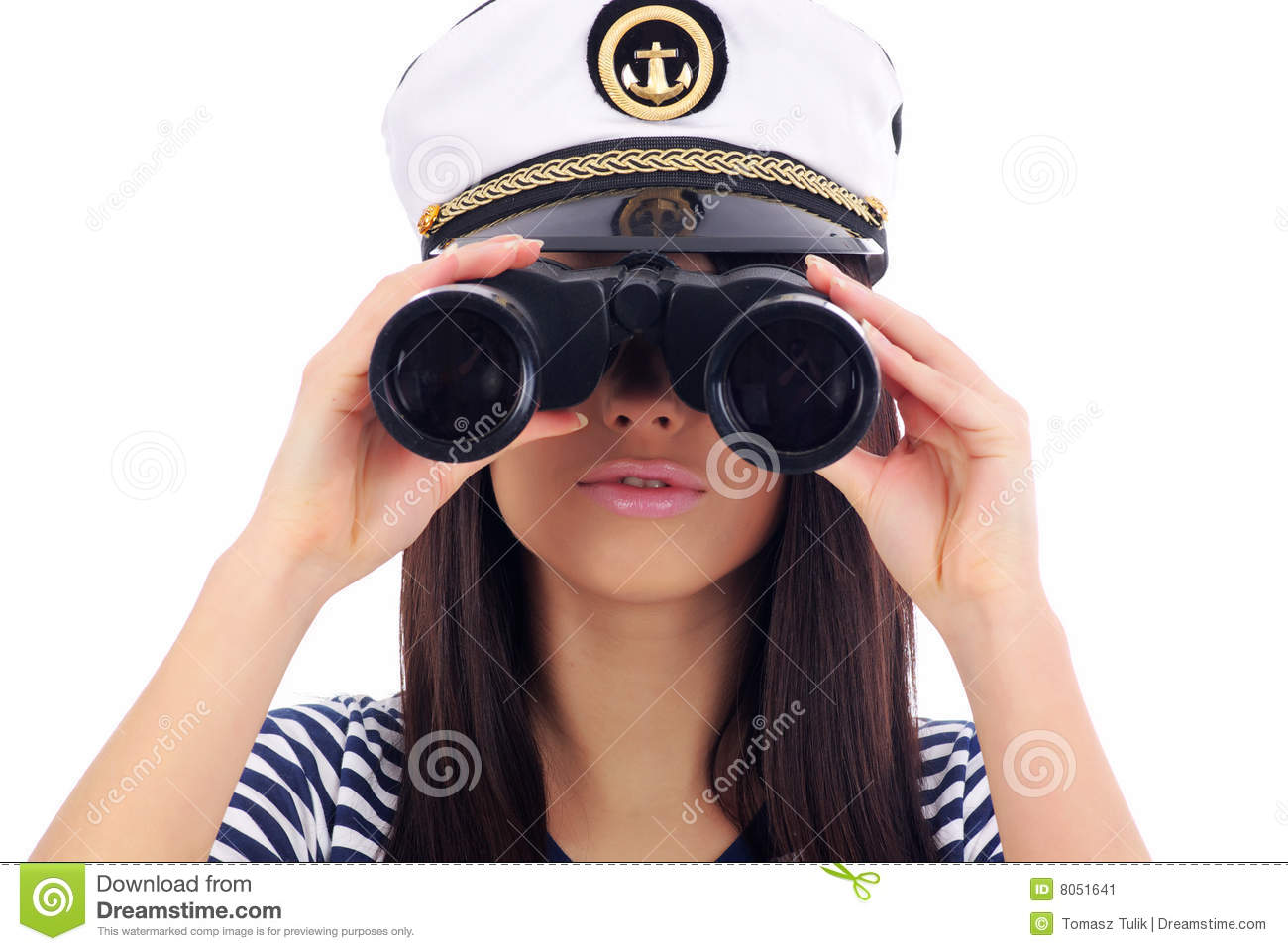 Woman Looking Through Binoculars Stock Image - Image: 8051641