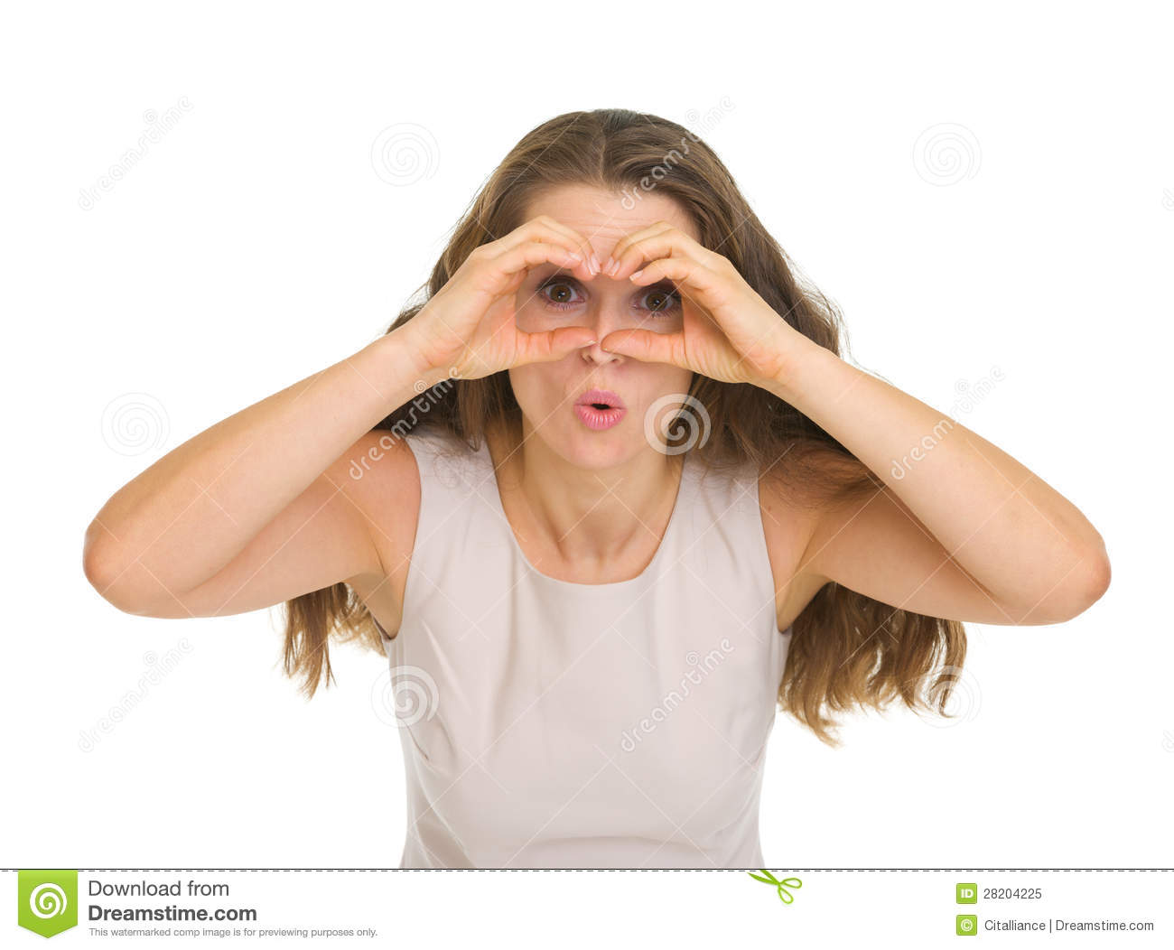 Woman Looking Through Binoculars Shaped Hands Stock Image ...