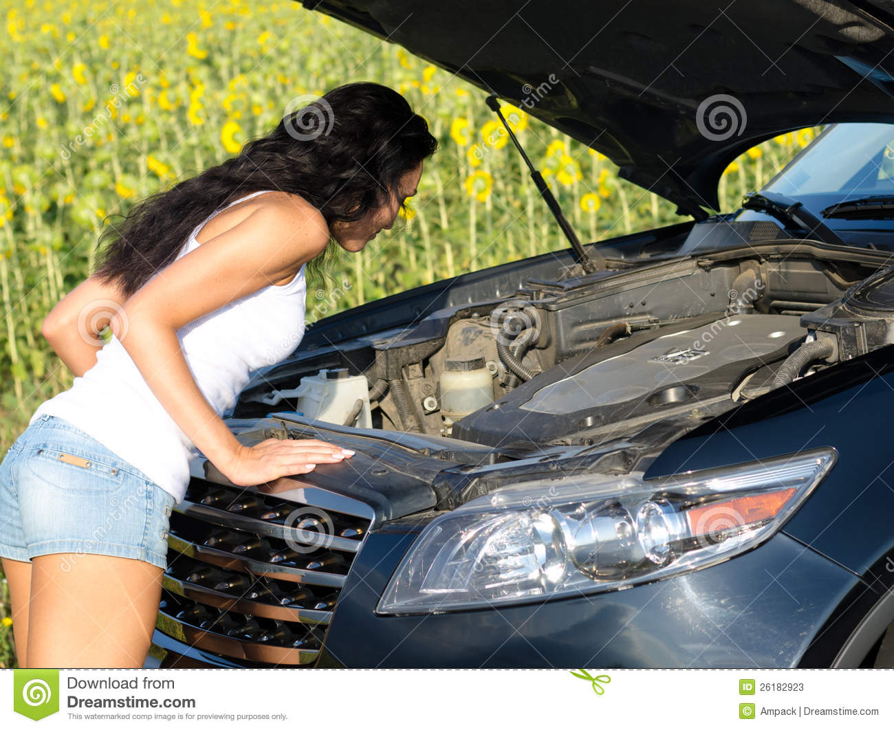 Woman Looking Into Car Engine Stock Photos Image 26182923