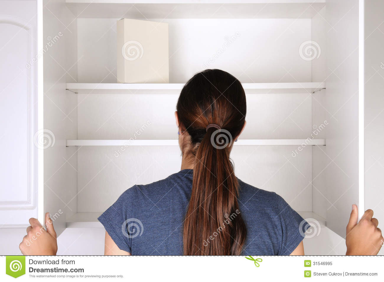 Woman Looking In Empty Pantry Royalty Free Stock Photo