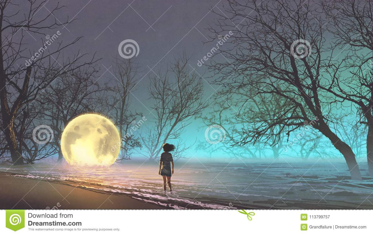 Woman looking at a fallen moon